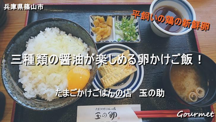 丹波で三種類の醤油が楽しめる卵かけご飯を食べる【玉の助】